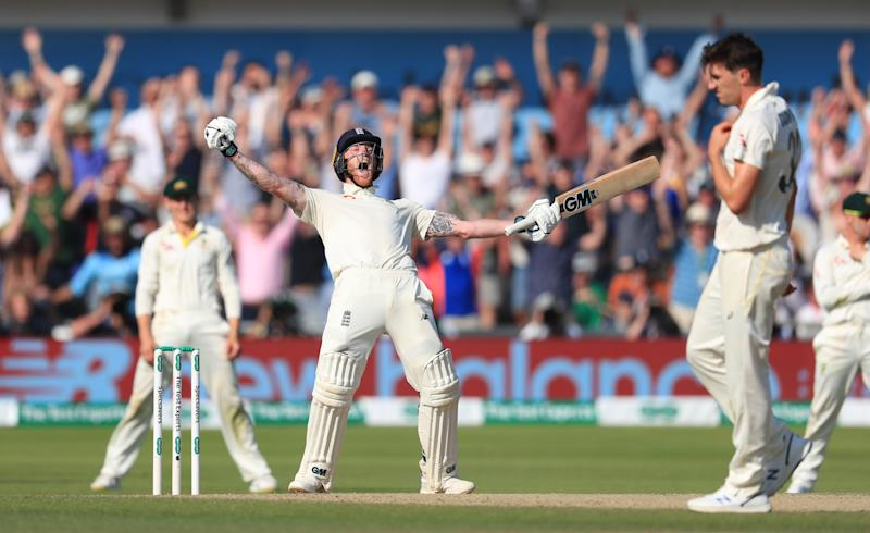 England's Ben Stokes celebrates winning the third Ashes Test match at Headingley. (Credit: Getty Images)