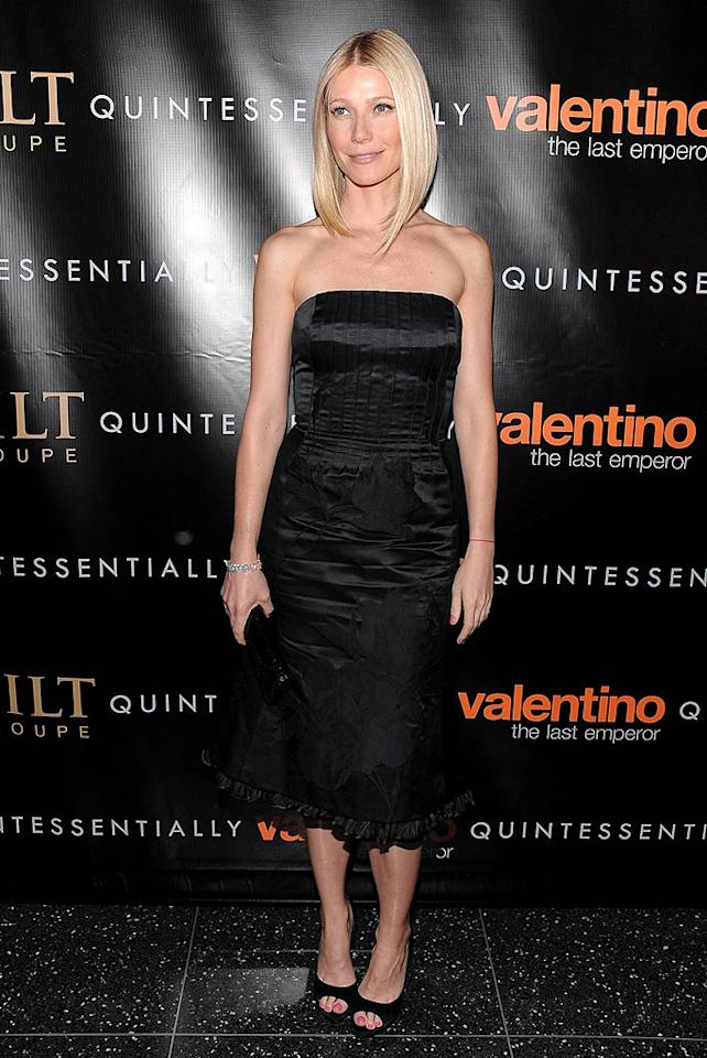 "Gwyneth Paltrow arrived at New York's Museum of Modern Art for the premiere of ""Valentino: The Last Emperor."" The actress has served as the Italian designer's muse for the last few years. Dimitrios Kambouris/<a href=""http://www.wireimage.com"" target=""new"">WireImage.com</a> - March 17, 2009"