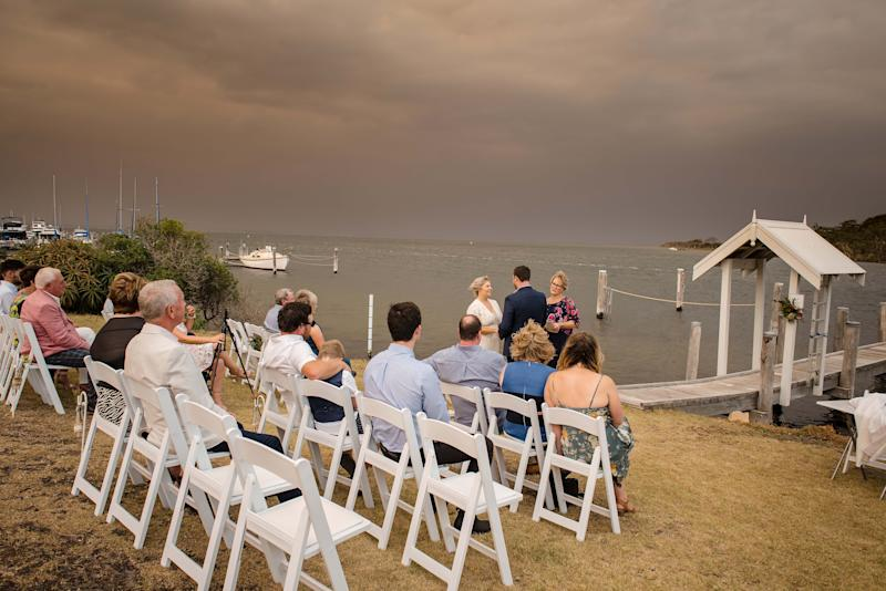 "The couple are seen saying ""I do"" in front of their 22 guests. Source: Rebecca Farley Photography"