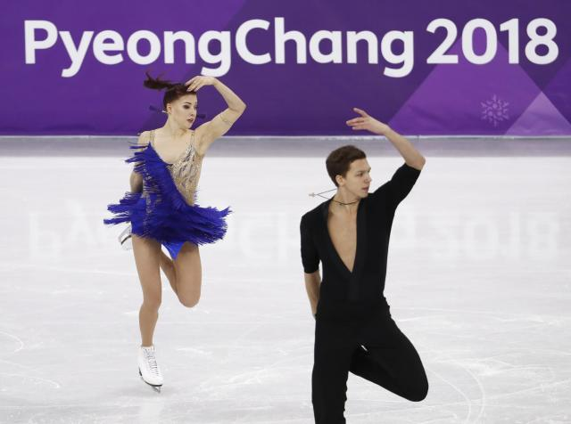 Figure Skating - Pyeongchang 2018 Winter Olympics - Ice Dance short dance competition - Gangneung Ice Arena - Gangneung, South Korea - February 19, 2018 - Ekaterina Bobrova and Dmitri Soloviev, Olympic athletes from Russia, perform. REUTERS/Damir Sagolj