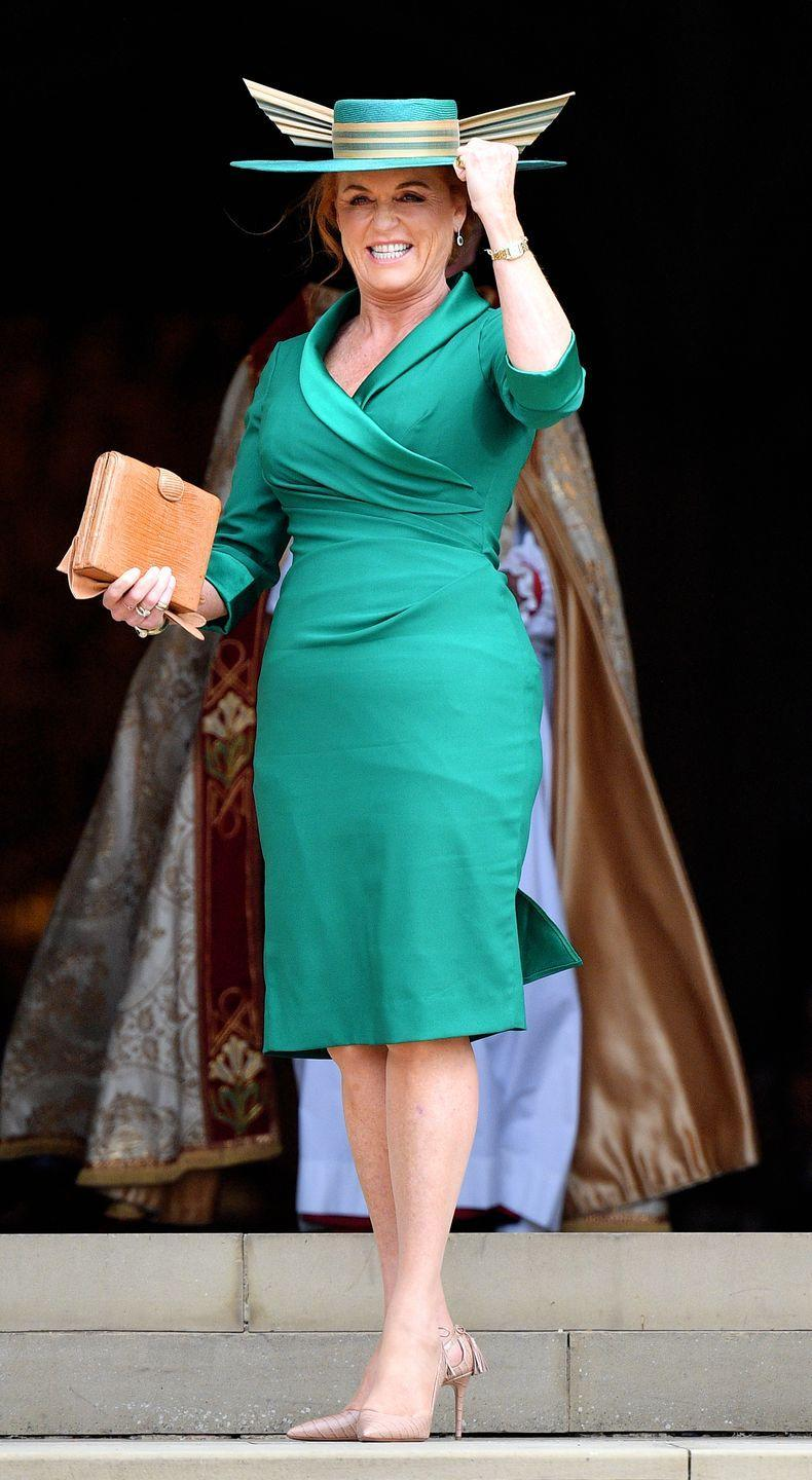 """<p>When Sarah showed up at Eugenie's wedding, she was carrying a vintage clutch in memory of her late mother, Susan Barrantes. <a href=""""https://www.royal.uk/wedding-princess-eugenie-and-jack-brooksbank-wedding-dress-and-bridal-party-outfits"""" rel=""""nofollow noopener"""" target=""""_blank"""" data-ylk=""""slk:According to a palace statement"""" class=""""link rapid-noclick-resp"""">According to a palace statement</a>, the Manolo Blahnik clutch actually was carried by her mom to Sarah's own wedding to Andrew in 1986.</p>"""