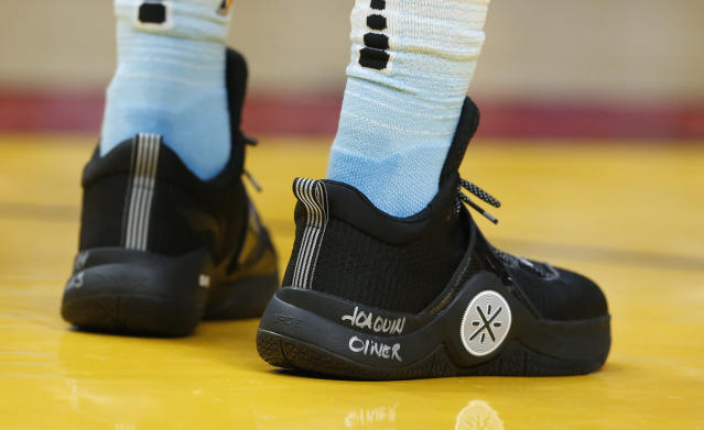 Dwyane Wade's shoe bears the name of Parkland school shooting victim Joaquin Oliver, who was buried with a Wade jersey, during a March 3 game against the Detroit Pistons. (AP)