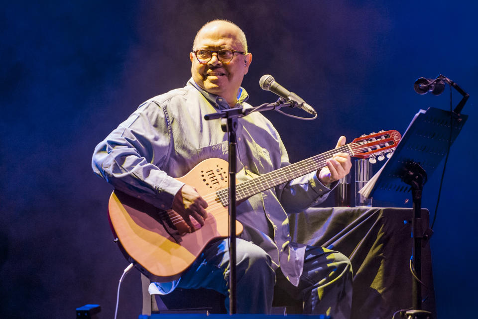 MADRID, SPAIN - MAY 12: Cuban singer-songwriter Pablo Milanés performs on stage at Teatro Circo Price on May 12, 2021 in Madrid, Spain. (Photo by Mariano Regidor/Redferns)