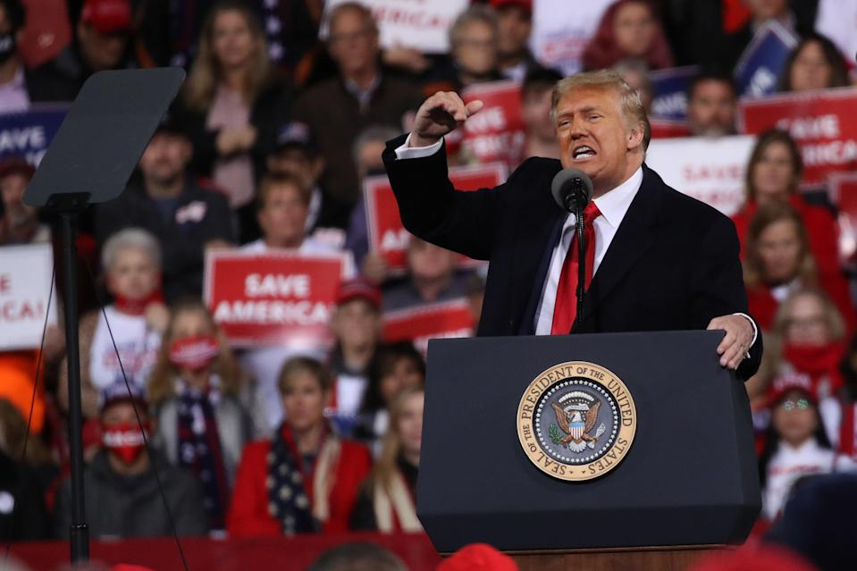 Donald Trump attends a rally in support of Senators David Perdue and Kelly Loeffler in Valdosta, Georgia (Getty Images)