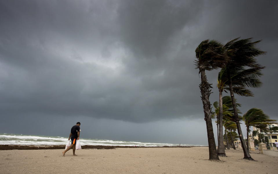 <em>Irma approaching – storms arrived in Florida as Hurricane Irma hit the Sunshine State (Pictures: AP)</em>