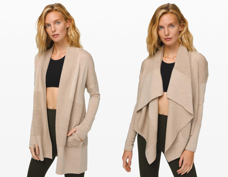 The Sit in Lotus Wrap II worn in two different ways. Image via Lululemon.com.