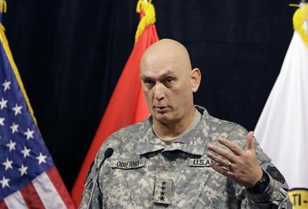 U.S. General Ray Odierno, commanding general of the Multi-National Force-Iraq, speaks during a news conference in Baghdad, November 18, 2009. REUTERS/Saad Shalash