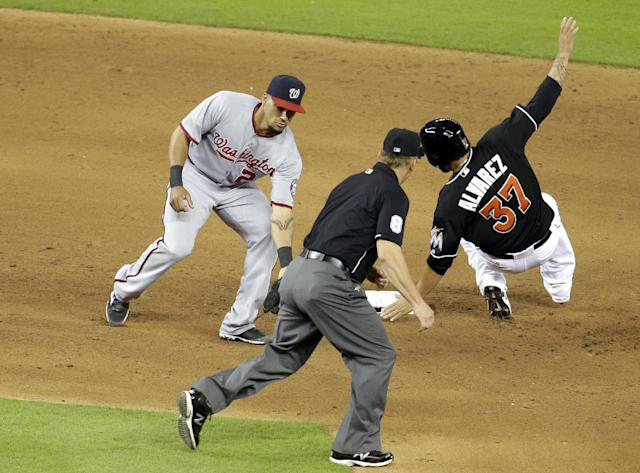 Miami Marlins' Henderson Alvarez (37) beats the throw to Washington Nationals shortstop Ian Desmond, left, and is safe at second on a wild pitch thrown by Washington Nationals starting pitcher Stephen Strasburg in the sixth inning during a baseball game, Tuesday, July 29, 2014, in Miami. (AP Photo/Lynne Sladky)