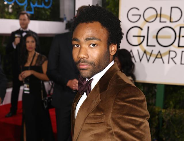 Donald Glover is the actual fire emoji in this brown suede tux at the Golden Globes