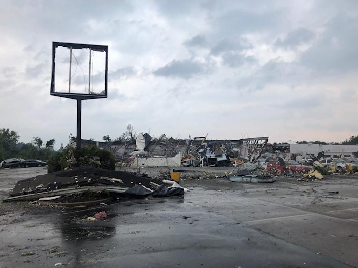 A Faulkner Auto Group service center was heavily damaged by storms and a possible tornado on Thursday, July 29, 2021.