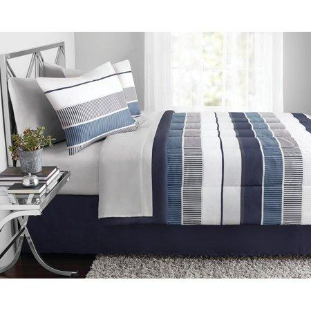 Mainstays Stripe Bed in a Bag Bedding Red Stripes Queen Set (Amazon / Amazon)