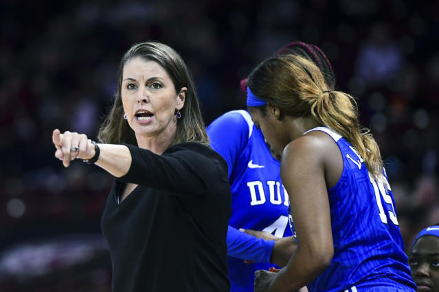 FILE - In this Dec. 19, 2019, file photo, Duke coach Joanne P. McCallie communicates with players during the second half of the team's NCAA college basketball game against South Carolina, in Columbia, S.C. McCallie wont return for a 14th season as Dukes womens basketball coach. McCallie announced her departure in a 6-minute video posted Thursday, July 2, 2020, on the programs Twitter account. She said she was choosing to step away as coach, saying she wanted to bring clarity instead of uncertainty as she entered the final year of her contract. (AP Photo/Sean Rayford, File)