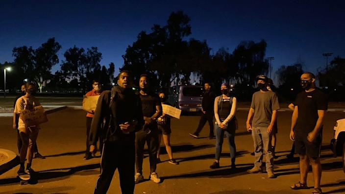 Protesters gather in Desert West Park on July 5, 2020, to demand information on and justice for a man Phoenix police shot and killed on the fourth of July in Maryvale.