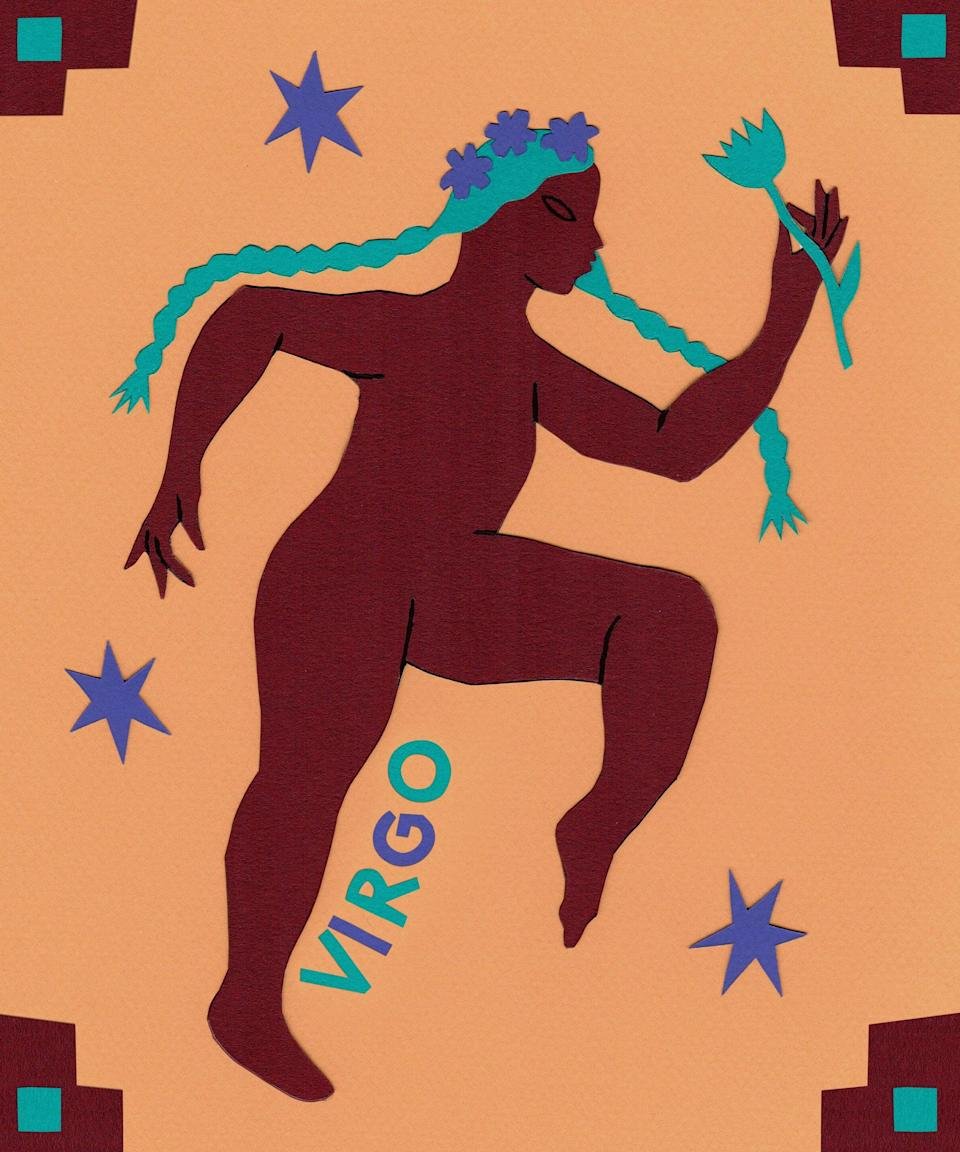 """<strong>Virgo</strong><br><strong>August 23 to September 22</strong><br><br><br>It's time to take on a new project, Virgo. You're tasked with caring for your cash in a responsible new way starting on January 8, when material-ruling Venus enters realistic Capricorn. Get ready to do what you do best and get organized — knowledge is power. If you've meant to create a more supportive schedule, you'll be helped immensely by the energy of routine-ruling Uranus' direct movement into <a href=""""https://www.refinery29.com/en-us/gifts-for-taurus"""" rel=""""nofollow noopener"""" target=""""_blank"""" data-ylk=""""slk:determined Taurus"""" class=""""link rapid-noclick-resp"""">determined Taurus</a> on January 14. The Planet of Innovation is ready to supercharge this aspect of your life, making change easy for you to accomplish. You're blessed with an added focus on wellness beginning January 19, as the Sun enters your 6th house of health, order, and service. Work with this transit's energy to prioritize your physical being and better understand how it can impact your mental state. Slow down and work to exercise your attention to detail at work starting on January 30, when career-ruling Mercury stations retrograde in analytical Aquarius. It could be easy to miss things that you would generally catch — be kind to yourself and remember mistakes are okay.<span class=""""copyright"""">Illustrated By Vero Romero </span>"""
