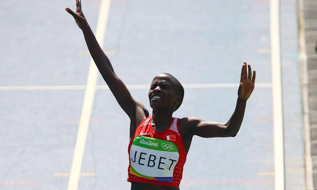 Ruth Jebet, competing for Bahrain, wins the 3,000m steeplechase at the Rio Games.