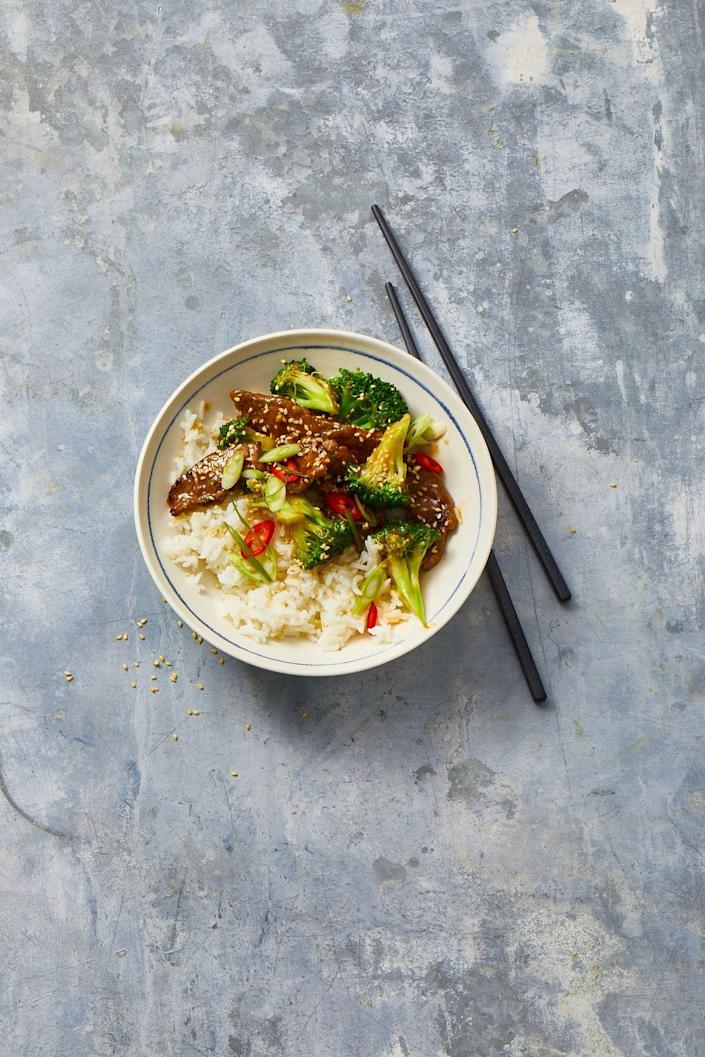 """<p>Bring your favorite takeout delicacy to your home kitchen with this family favorite recipe.</p><p><em><a href=""""https://www.goodhousekeeping.com/food-recipes/a10008/beef-broccoli-recipe/"""" rel=""""nofollow noopener"""" target=""""_blank"""" data-ylk=""""slk:Get the recipe for Beef and Broccoli »"""" class=""""link rapid-noclick-resp"""">Get the recipe for Beef and Broccoli »</a></em></p>"""
