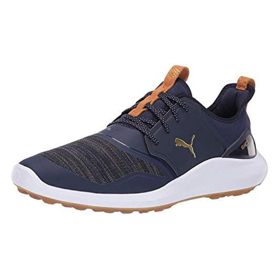 """<p><strong>PUMA</strong></p><p>amazon.com</p><p><strong>$99.99</strong></p><p><a href=""""https://www.amazon.com/dp/B07FNZ85G8?tag=syn-yahoo-20&ascsubtag=%5Bartid%7C2139.g.33501651%5Bsrc%7Cyahoo-us"""" rel=""""nofollow noopener"""" target=""""_blank"""" data-ylk=""""slk:BUY IT HERE"""" class=""""link rapid-noclick-resp"""">BUY IT HERE</a></p><p>Golf season is here and in swing (pun fully intended). If you need a new shoe to hit the course in, Puma's popular Ignite Nxt Lace Golf Shoe is an unfussy choice that reviewers consistently praise for being comfortable. Note that these run a bit large, so we recommend ordering a half size down. </p>"""