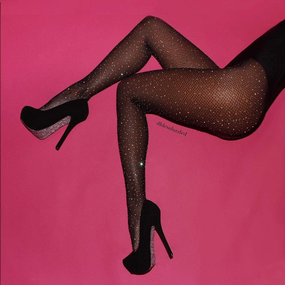 "Get the <a href=""https://www.dbleudazzled.com/collections/hosiery/products/midnight-sky-black-fishnets"" target=""_blank"" rel=""noopener noreferrer"">D.Bleu.Dazzled midnight sky crystallized black fishnets</a> for $75."