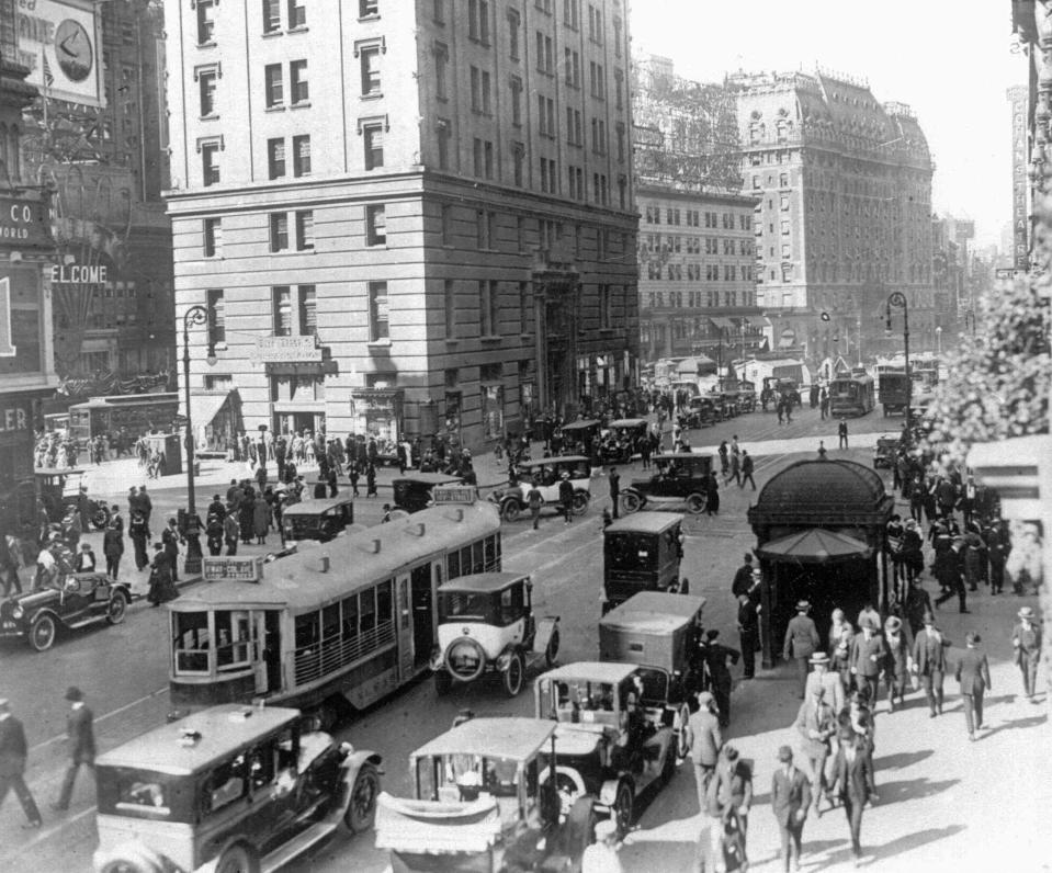 FILE - This 1920s photo shows a general view of Times Square near 42nd Street in New York. (AP Photo, File)