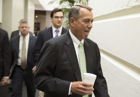 File photo of U.S. House Speaker Boehner arriving for a Republican caucus meeting at the Capitol in Washington