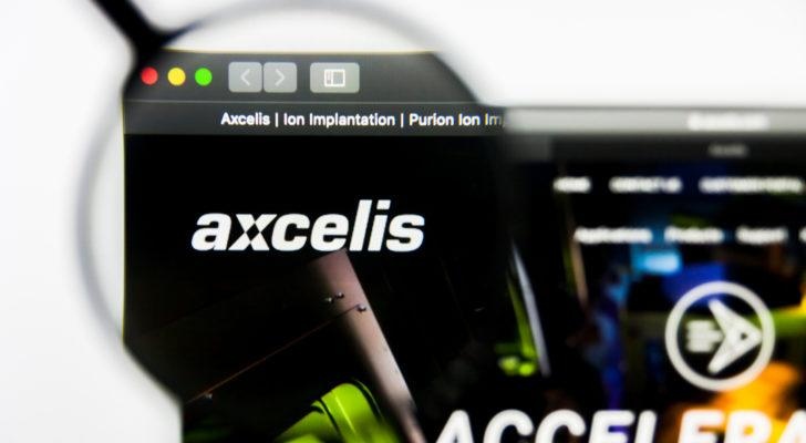 Image of the Axcelis (ACLS) logo on a web browser amplified through the lens of a magnifying glass