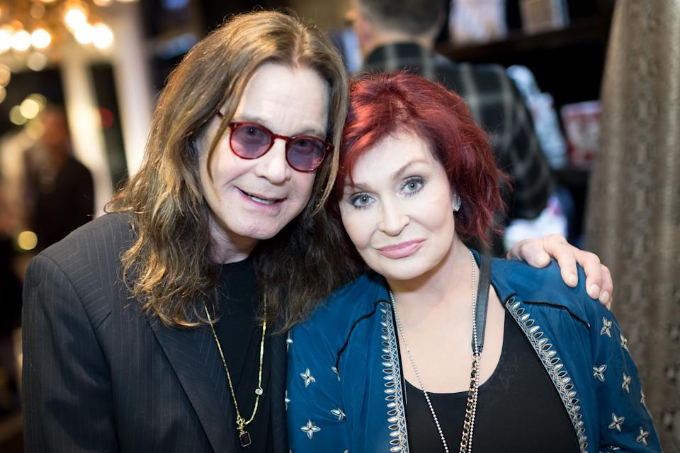 LOS ANGELES, CA - SEPTEMBER 28: (EXCLUSIVE COVERAGE)  Ozzy Osbourne and Sharon Osbourne attend the Billy Morrison - Aude Somnia Solo Exhibition at Elisabeth Weinstock on September 28, 2017 in Los Angeles, California.  (Photo by Greg Doherty/Getty Images)