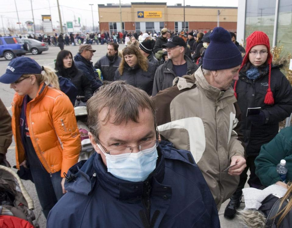 Group of people waiting for vaccines