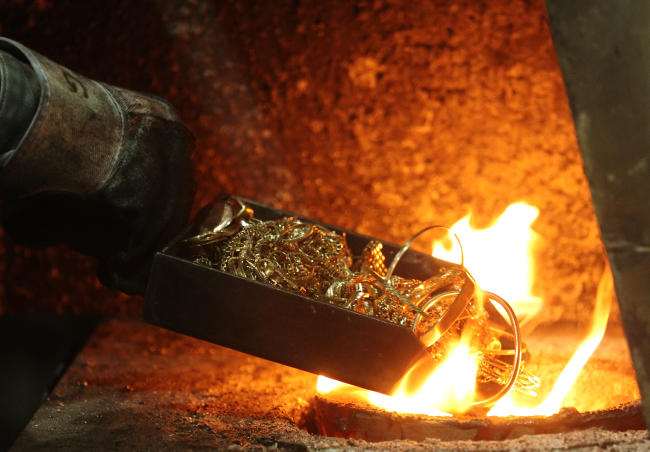 Melted gold furnace jewelry