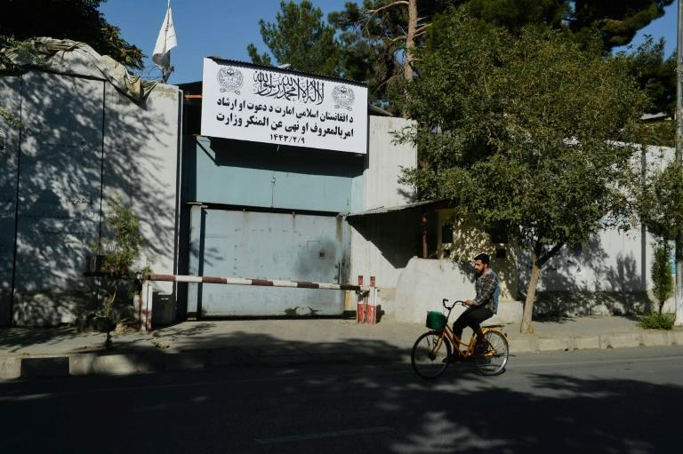 The Taliban appear to have shut down the government's ministry of women's affairs and replaced it with the Ministry for the Promotion of Virtue and Prevention of Vice (AFP/Hoshang Hashimi)