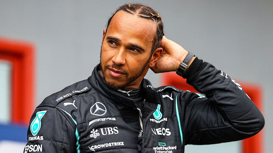 Pictured here, Lewis Hamilton is seen during qualifying for the Emilia Romagna GP.
