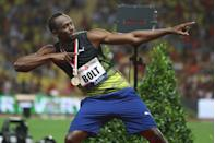 <p>He may be the fastest man in the world, but Usain Bolt is also ripped AF. Here, the Olympic gold medalist shows off his impressive arms after winning at the IAAF Diamond League Meeting Herculis in 2017. </p>