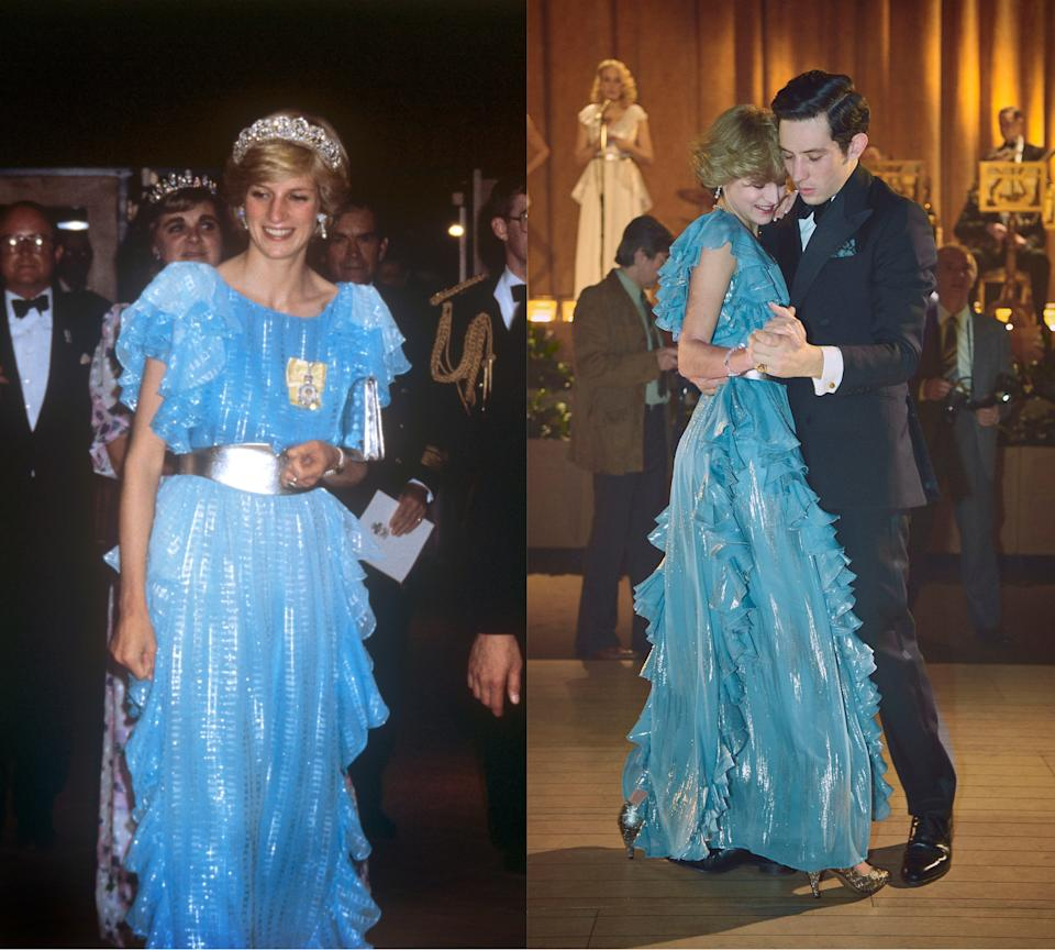 (L) Princess Diana in 1983 and (R) dancing with Charles on the show