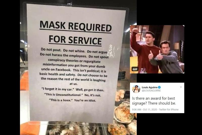 Sea-food Counter is Winning 'Award for Best Signage' on Twitter for Cleverly Asking You to Wear Mask