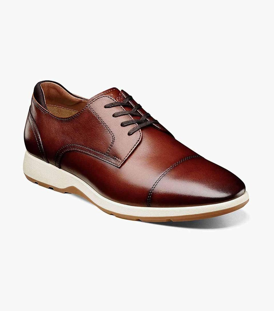 """<p>florsheim.com</p><p><strong>$110.00</strong></p><p><a href=""""https://go.redirectingat.com?id=74968X1596630&url=https%3A%2F%2Fwww.florsheim.com%2Fshop%2Fstyle%2F15189-221.html&sref=https%3A%2F%2Fwww.menshealth.com%2Fstyle%2Fg36283507%2Fmens-dress-sneakers%2F"""" rel=""""nofollow noopener"""" target=""""_blank"""" data-ylk=""""slk:BUY IT HERE"""" class=""""link rapid-noclick-resp"""">BUY IT HERE</a></p><p>Switching from mall-walkers on the train to wingtips once you get to the office is <em>so</em> 2019. As the name suggests, this dress shoe/sneaker hybrid style from Florsheim is made with the commute in mind. When the time comes to trek to the office again, you'll be ready with these. </p>"""