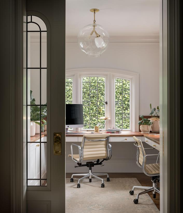 A home office area that's perfectly set up for two.
