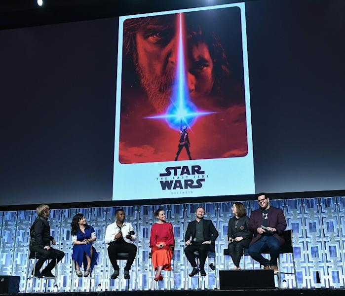 Mark Hamill, Kelly Marie Tran, John Boyega, Daisy Ridley, Rian Johnson, Kathleen Kennedy and Josh Gad attend the Star Wars Celebration on April 14, 2017 in Orlando, Florida