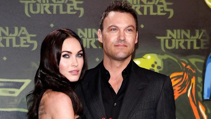 "Megan Fox and Brian Austin Green attend a screening of ""Teenage Mutant Ninja Turtles"" in 2014. <span class=""copyright"">(Andreas Rentz / Getty Images)</span>"