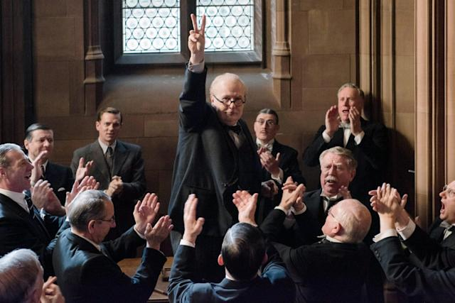 "Gary Oldman holds court as Winston Churchill in ""Darkest Hour."" (Photo: Jack English/Focus Features/Courtesy Everett Collection)"