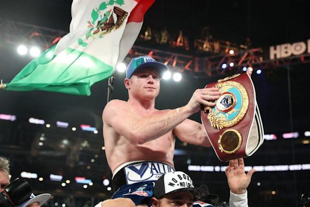 Canelo Alvarez finished off Liam Smith in the ninth round on Saturday. (Getty)