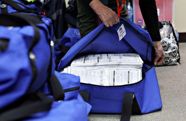 PHOTO: Election officials unpack bags containing ballots after Election Day at the Kenosha Municipal Building in Kenosha, Wisconsin, Nov. 4, 2020. (Daniel Acker/Reuters)