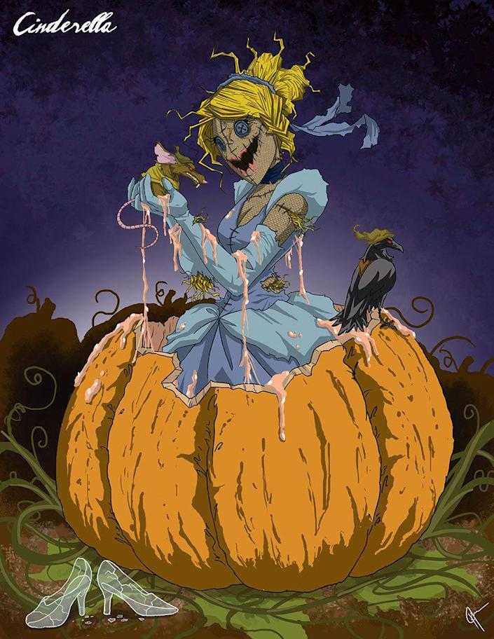 """<p>Thomas's drawings are unsettling, but we can't look away. Nor can we ignore the little voice in our head that immediately says, """"Ooh, what a great Halloween costume idea!"""" Freaky, Tim Burton-ish Cinderella, anyone? <i>(Photo: <a href=""""http://www.jeftoonportfolio.blogspot.com/"""" rel=""""nofollow noopener"""" target=""""_blank"""" data-ylk=""""slk:Jeffrey Thomas"""" class=""""link rapid-noclick-resp"""">Jeffrey Thomas</a>)</i><br></p>"""