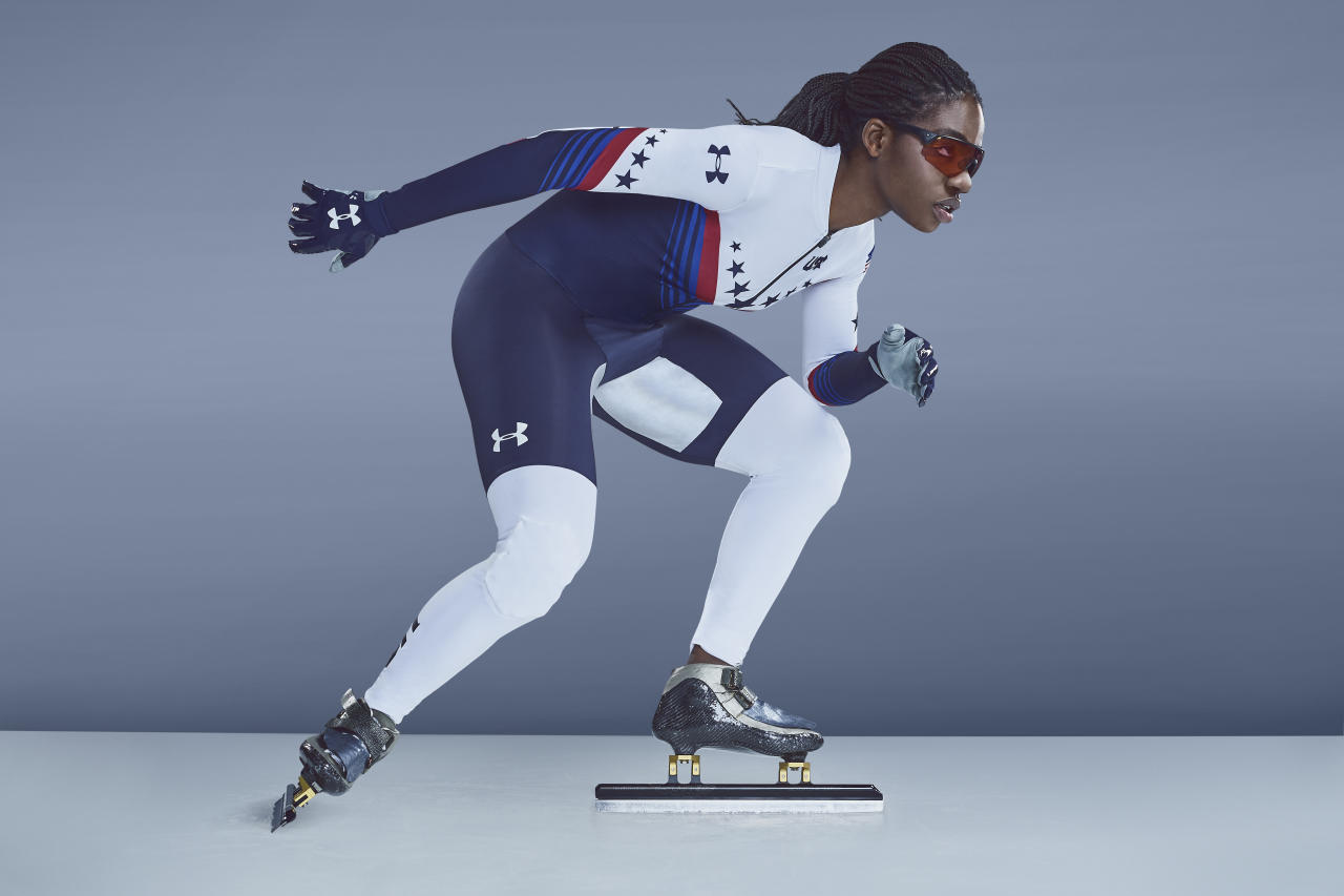 <p>Maame Biney is a 17-year-old short track speed skater. She is the first black woman to qualify for the U.S. Olympic Speedskating team and will compete this year. (Photo: courtesy of Under Armour) </p>
