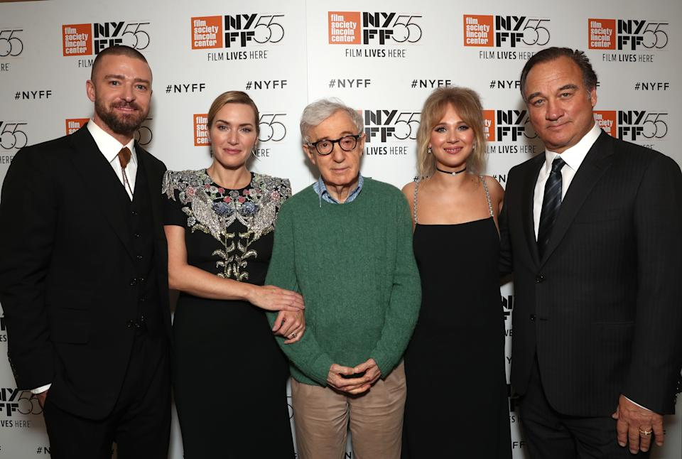 """NEW YORK, NY - OCTOBER 14:  (L-R) Justin Timberlake, Kate Winslet, Director Director Woody Allen, Juno Temple and Jim Belushi attend the NYFF premiere of """"Wonder Wheel"""" at Alice Tully Hall on October 14, 2017 in New York City.  (Photo by Todd Williamson/Getty Images for Amazon Studios)"""