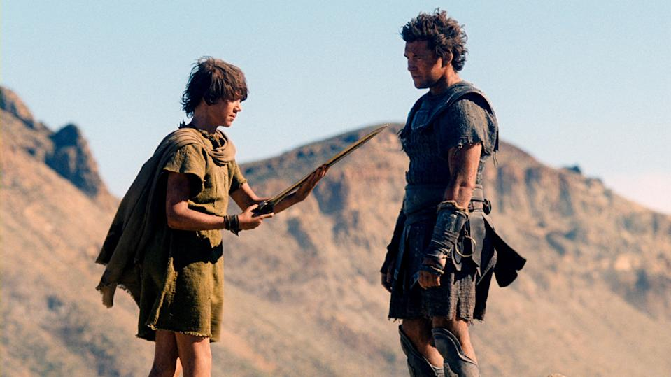 "John Bell and Sam Worthington in Warner Bros. Pictures' <a href=""http://movies.yahoo.com/movie/wrath-of-the-titans/"" data-ylk=""slk:Wrath of the Titans"" class=""link rapid-noclick-resp"">Wrath of the Titans</a> - 2012"
