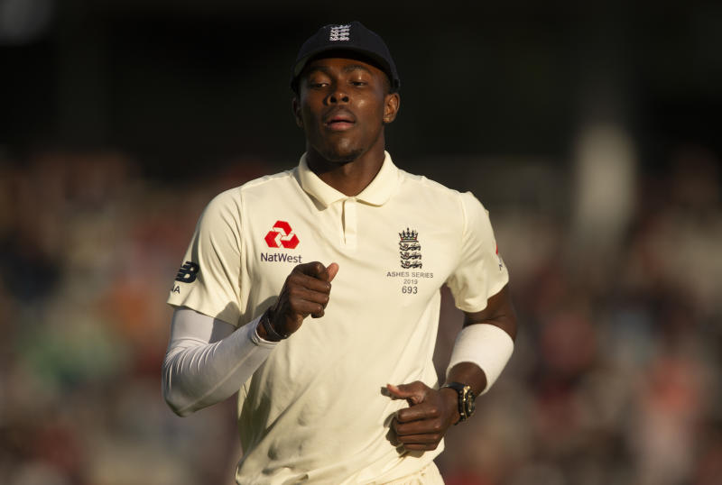 MANCHESTER, ENGLAND - SEPTEMBER 07: Jofra Archer of England during day four of the 4th Ashes Test Match between England and Australia at Old Trafford on September 07, 2019 in Manchester, England. (Photo by Visionhaus)