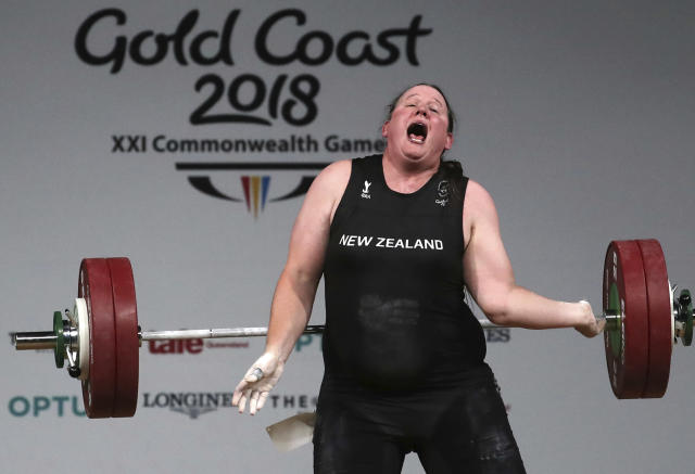 New Zealand's Laurel Hubbard reacts after failing to make a lift in the snatch of the women's +90kg weightlifting final at the 2018 Commonwealth Games on the Gold Coast, Australia, Monday, April 9, 2018. (AP Photo/Manish Swarup)