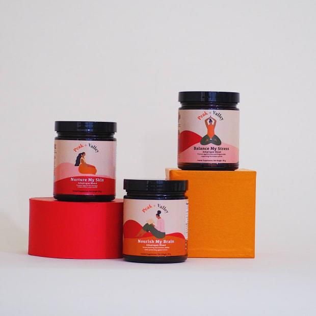 Peak and Valley's three adaptogenic herbal blends, each of which retail for $38.