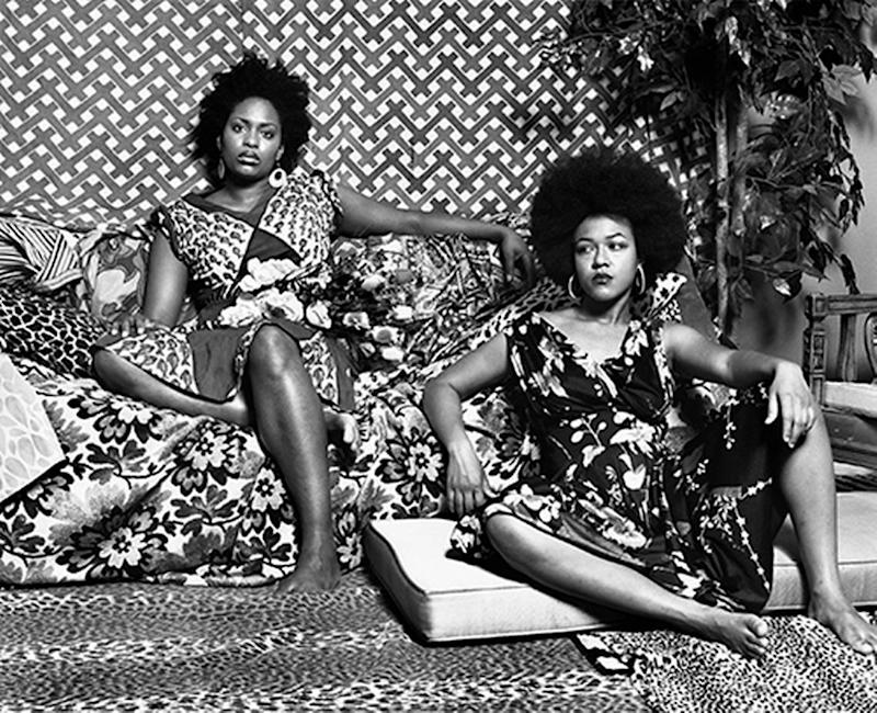 """Mickalene Thomas's photograph, """" A Moment's Pleasure in Black and White,"""" is part of the show """"House to House"""" at the Frost-FIU Museum of Art."""