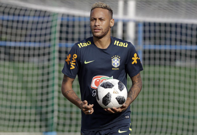 Brazil's Neymar attends a training session, in Sochi, Russia, Friday, June 29, 2018. Brazil will face Mexico on July 2 in the round of 16 for the soccer World Cup. (AP Photo/Andre Penner)