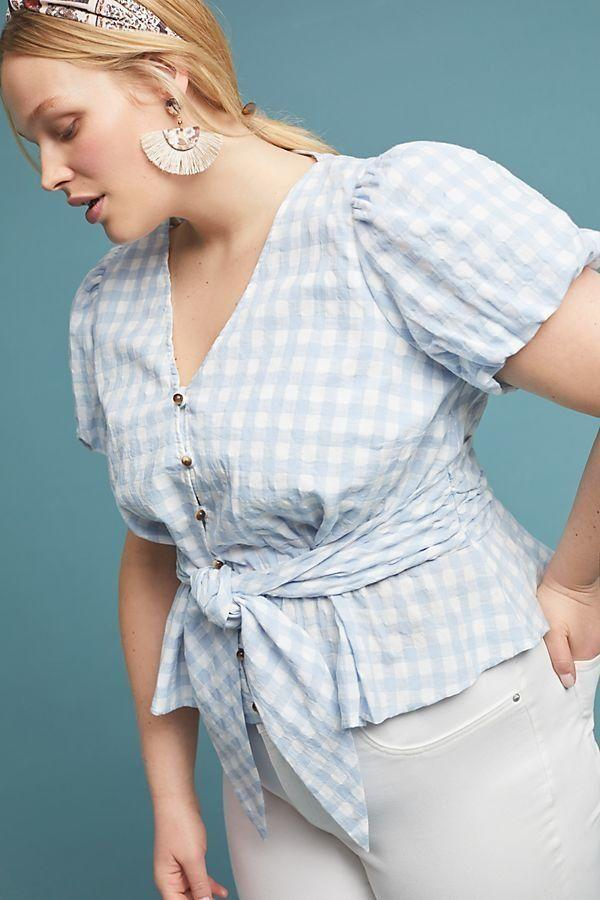 Anthropologie Gingham Puffed Sleeved Blouse (Photo: Anthropologie)